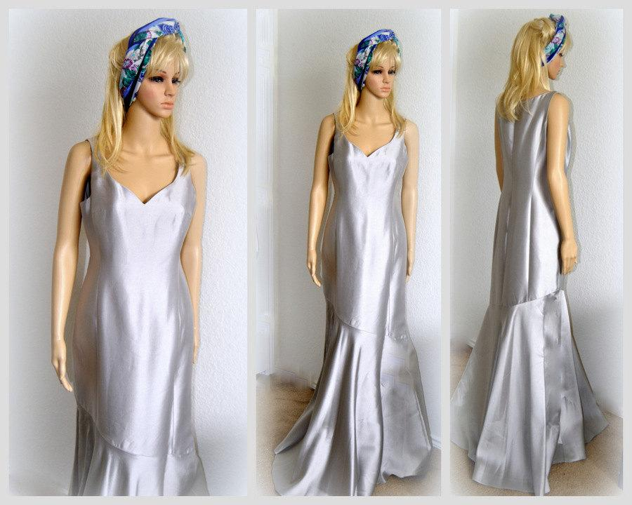 Luxury Silver Gown Bridesmaid Dress Wedding Bridal Sheath Flare Silk Prom Simple Size 6 M