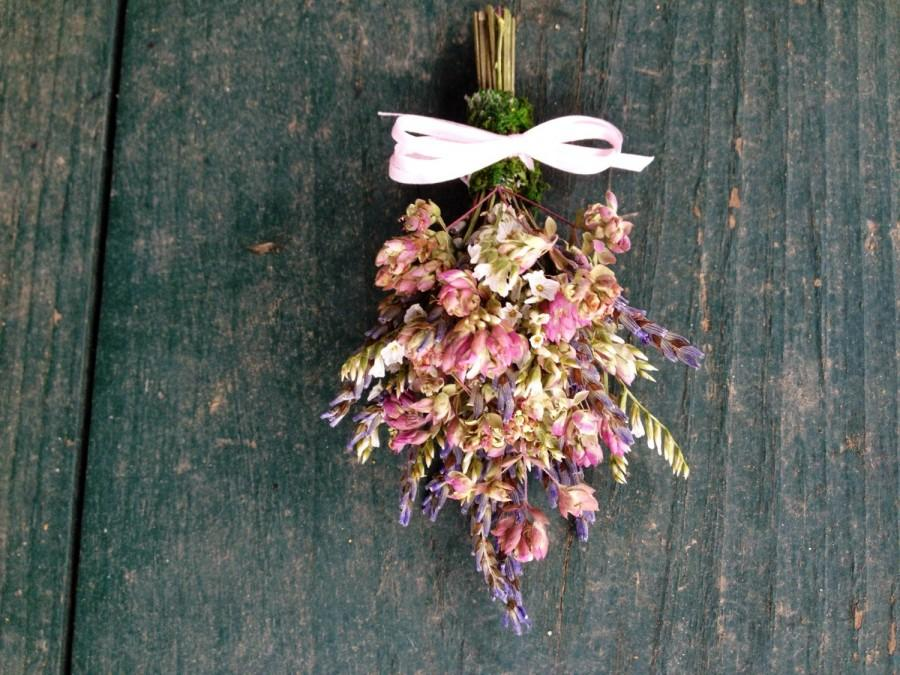 Mariage - Shabby Chic all Natural dried flower corsage for a spring, garden, rustic, nature themed wedding.