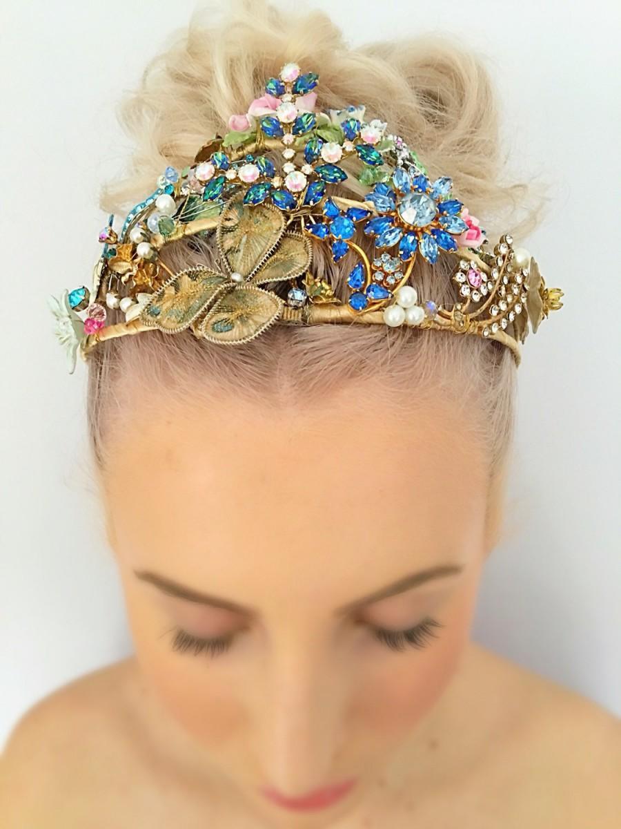 Hochzeit - Unique Magical Vintage Wedding Woodland Faery Elvish Statement Headdress Bridal Tiara Wedding Crown