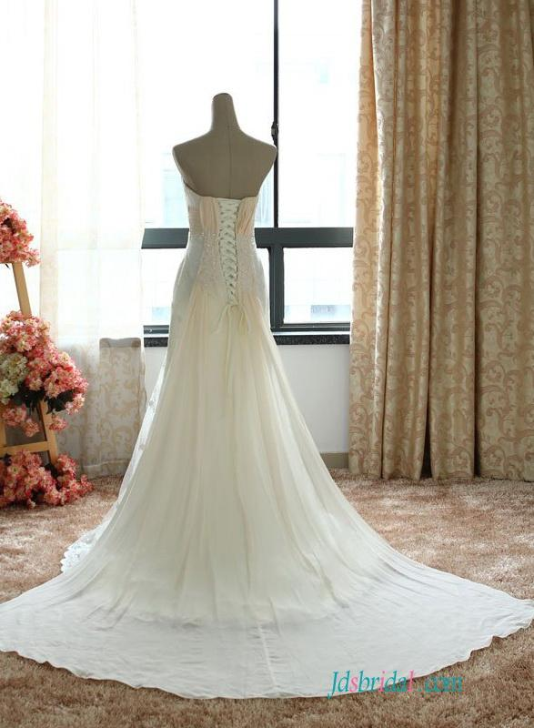Wedding - H1495 Casual cheap lace modified a line wedding dress