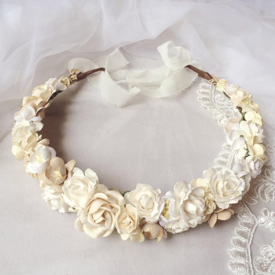 Bridal Flower Crown Flower Girl Crown Woodland Headdress Bridal