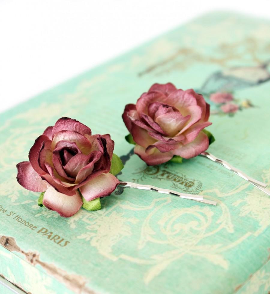 Wine Rose Hair Slides, Mulberry Rose Hair Slide, Wedding Hair ...