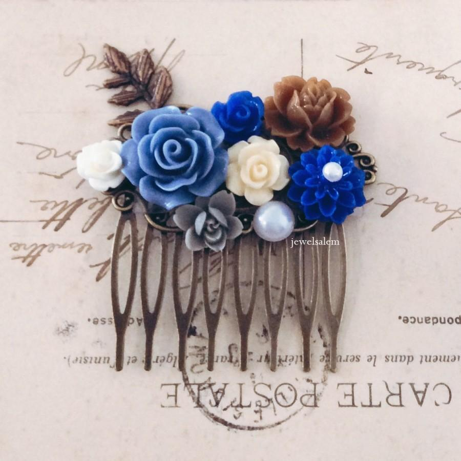 Blue hair comb periwinkle blue brown ivory cream cornflower blue blue hair comb periwinkle blue brown ivory cream cornflower blue nature inspired wedding bridal hair slide headpiece floral hair pin modern izmirmasajfo Image collections