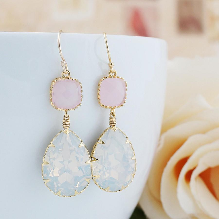 Wedding - Bridesmaid Gift White Opal Swarovski Crystal GOLD FILLED Earrings Dangle Earrings drop Earrings Weddings gift Bridesmaid Jewelry (E-B-0111)