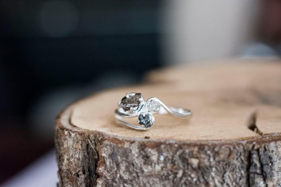 c15aa161f30c7 Meteorite And Rough Uncut Natural Diamond Ring With Sterling Silver ...