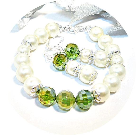 Mariage - Bracelet, Earrings, Green Jewelry, Bridesmaid Jewelry, Clover, Pearl Jewelry, Bridal Accessories, Summer Wedding, Jewelry Set, Bridal Party