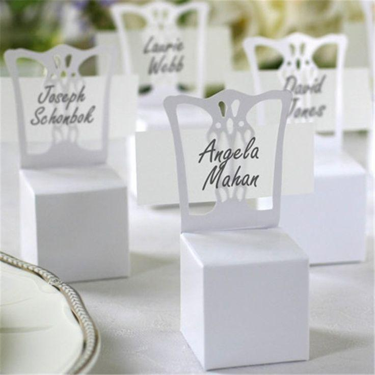 Свадьба - 100pcs/lots Chair Place Card Holder And Favor Box Wedding Decoration