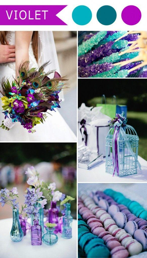 Wedding - Violet And Teal Blue Peacock Themed Wedding Color Ideas