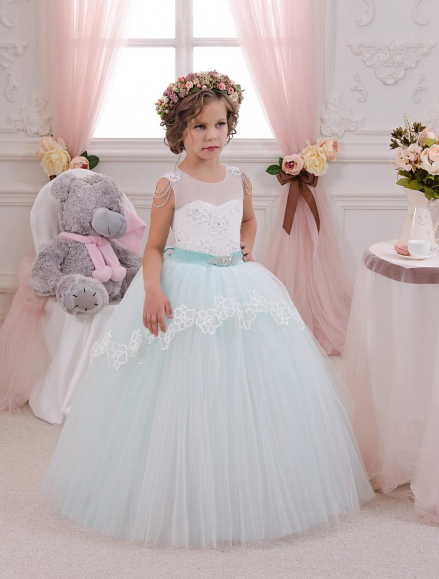 Hochzeit - Mint Ivory Lace Tulle Flower Girl Dress - Birthday Wedding Party Holiday Bridesmaid Fancy Mint Ivory Lace Tulle Flower Girl Dress