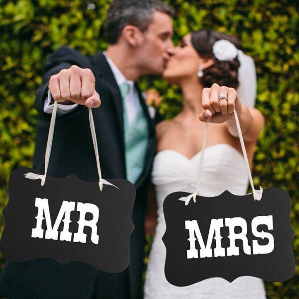 Свадьба - Black And White MR MRS Wedding Photo Booth Decor With Ribbon Wedding Decoration