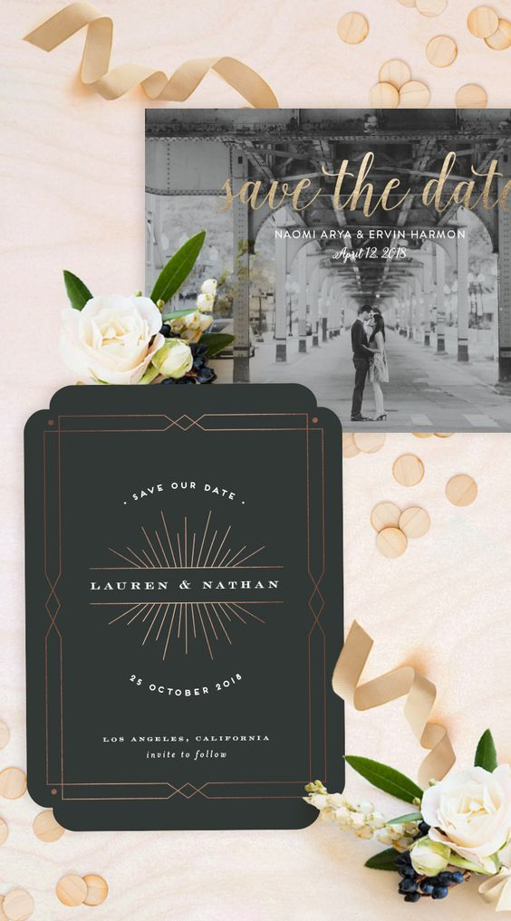 """Wedding - """"Brooklyn Bridge"""" - Customizable Foil-pressed Save The Date Cards In Gold By Little Words Design"""