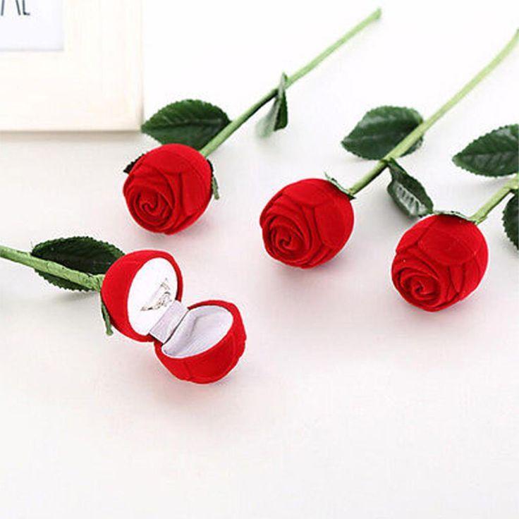 Свадьба - Elegant Red Rose Flower Ring Box Case