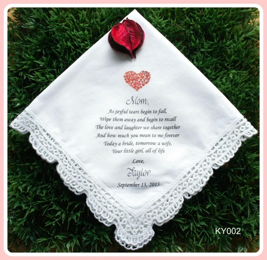 Wedding - Mother of the Bride Hankerchief-Heart Design-Wedding Handkerchief-PRINTED-CUSTOMIZED-Wedding-Mother of the Groom gift-Wedding Gift-hankies