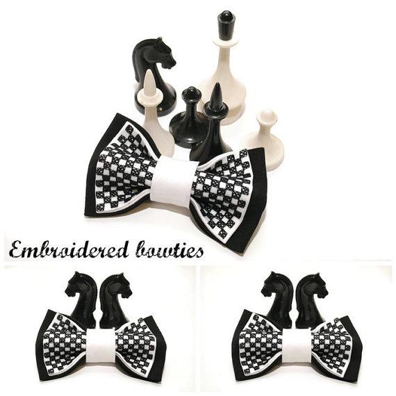 Hochzeit - gift him bow tie for men embroidered black white chess bowtie gift ideas groomsman tie gifts boyfriend for chess lovers black wedding A2D5