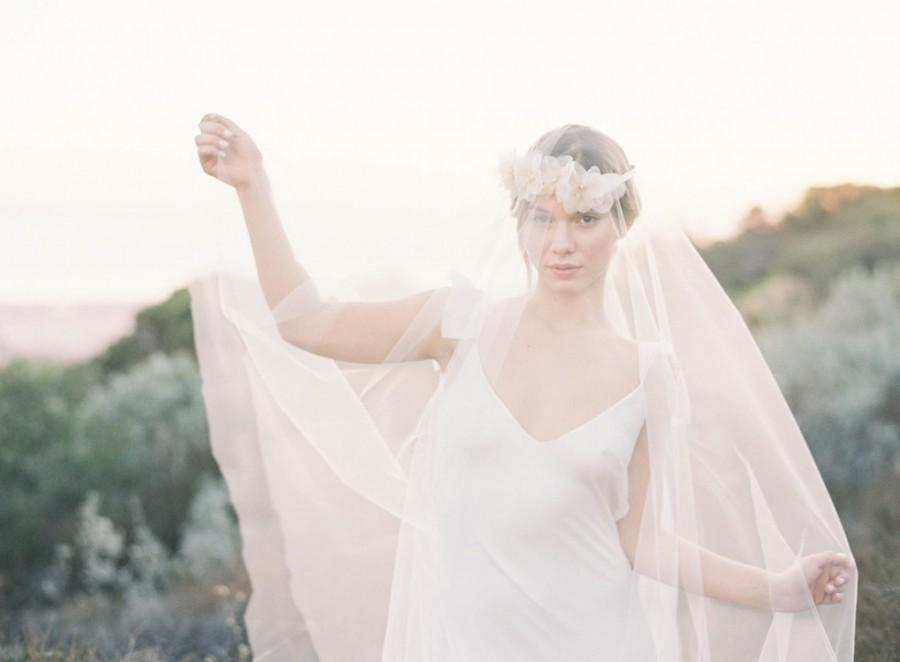 """Свадьба - Romantic silk organza flower crown veil with blush detailing and pearl accents """"Jill"""""""