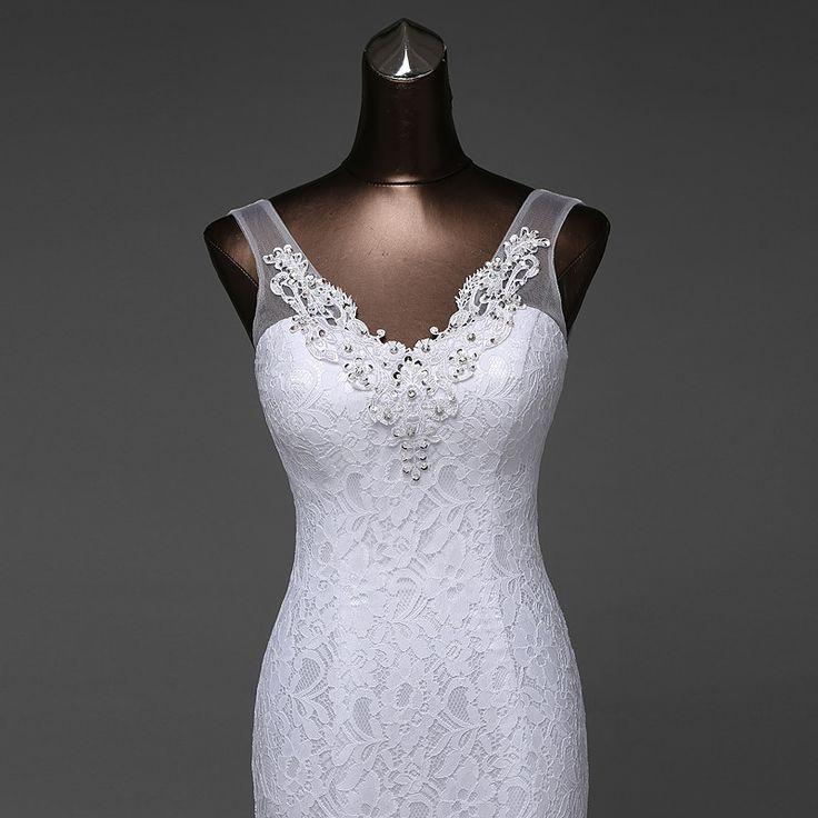 Wedding - Beautiful Lace Flowers V-Neck Mermaid Wedding Dress