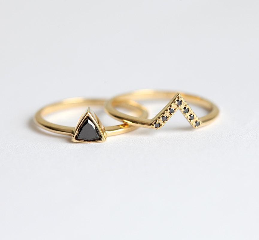 Mariage - Black Diamond Ring, Black Diamond Wedding Ring Set, Trillion Black Diamond Ring with Black Diamond Band, Pave Black Diamond Band