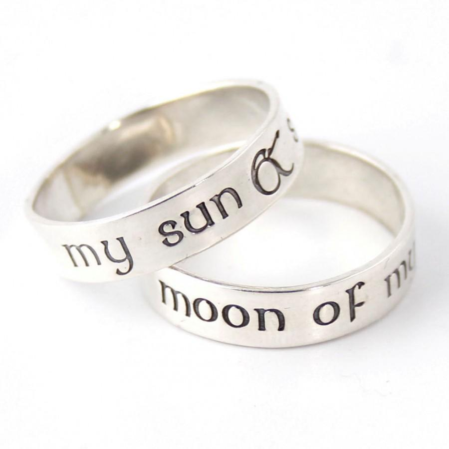 Mariage - Nerdy Wedding Bands - My Sun & Stars - Moon of My Life - Pair of Sterling Silver His and Hers Wedding Bands