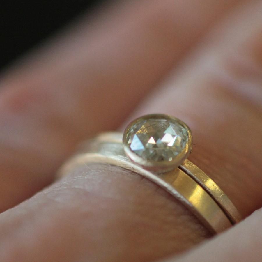 Mariage - Engagement Ring Rose Cut 4mm Moissanite in Recycled 14k Yellow Gold Eco Friendly Metal
