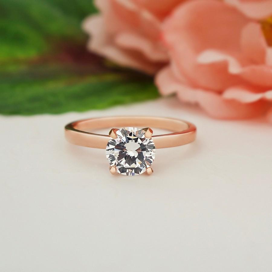 Mariage - 1 ct 4 Prong Classic Solitaire Ring, Round Engagement Ring, Man Made Diamond Simulant, Bridal Ring, Sterling Silver, Rose Gold Plated