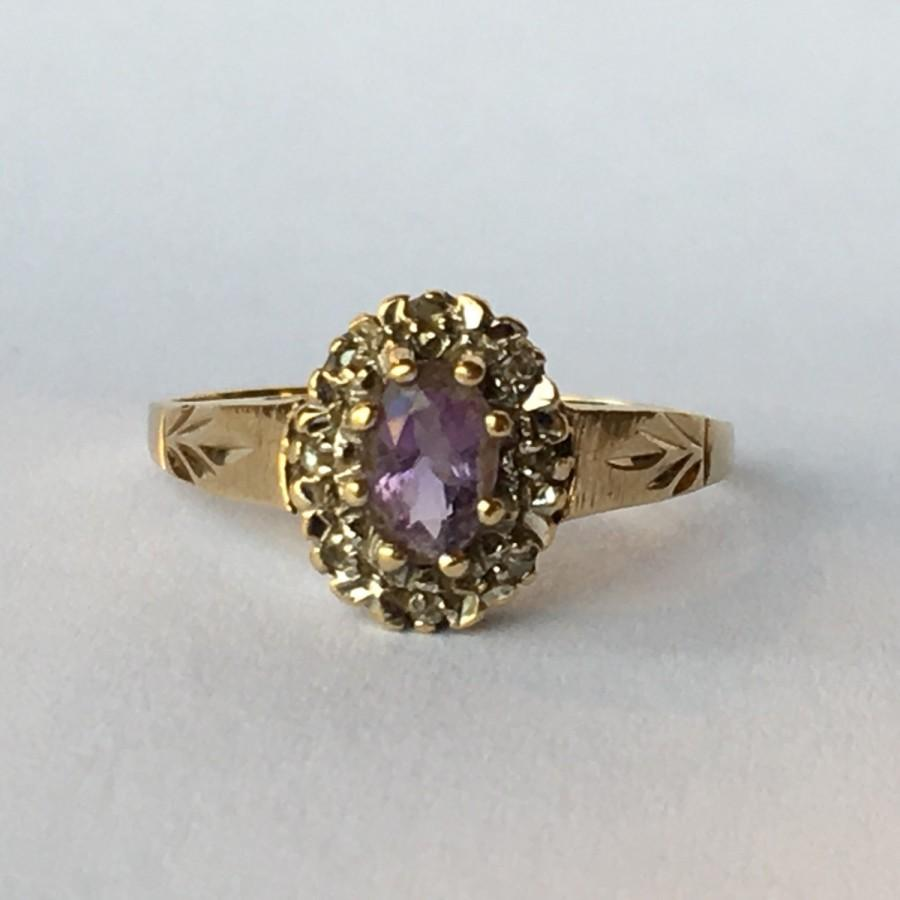 Mariage - Vintage Amethyst Ring with Diamond Accents in 9k Gold. Unique Engagement Ring. Estate Jewelry. February Birthstone. 6th Anniversary Stone.