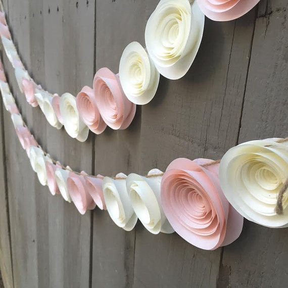 Wedding - Paper Flower Garland Pink & Cream White For Wedding, Reception, Bridal Shower, Baby Shower - Peach Pink Ivory White Paper Flower Streamer