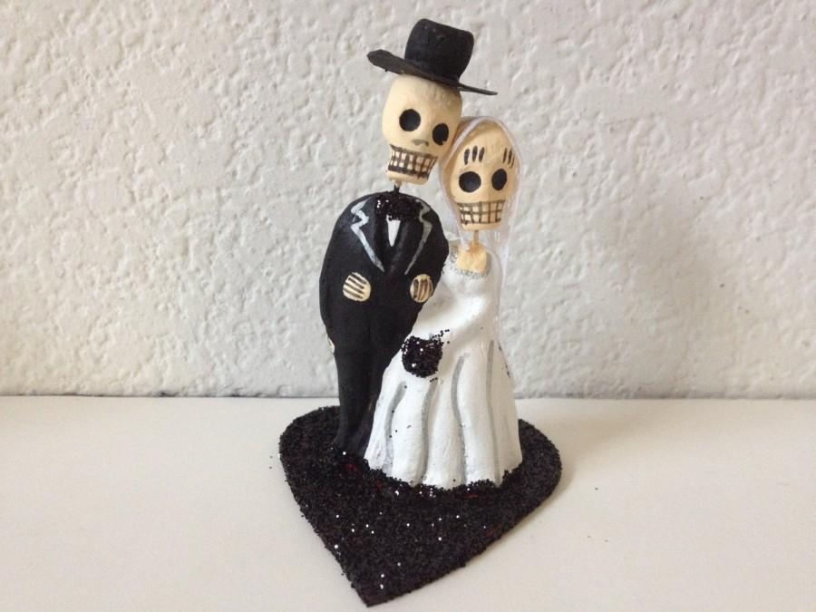 Mariage - Black Till Death Do Us Part Dia De Los Muertos Cake Topper - Halloween, Wedding, Engagment Party, Day of the Dead