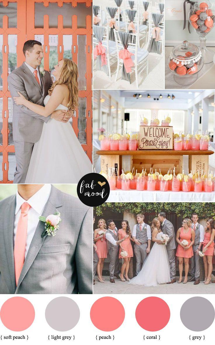 Wedding - Peach Coral And Grey Wedding Palette
