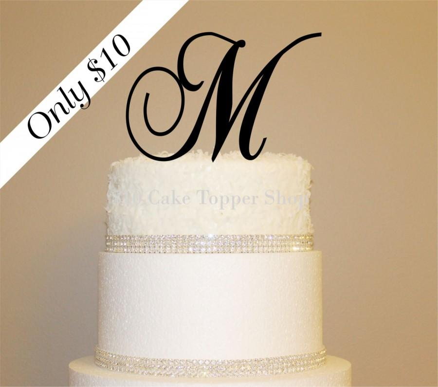 Wedding Cake Toppers Letters Black : Affordable 10 Dollar Monogram Wedding Cake Topper-Any ...