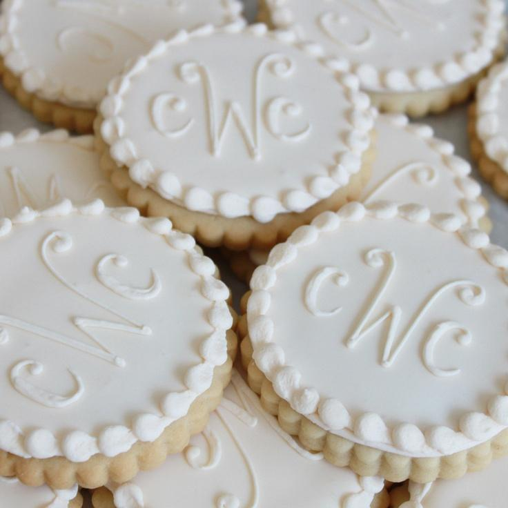 Hochzeit - Ivory Monogram Cookie Gift Box (Vanilla) Half Dozen - MADE TO ORDER