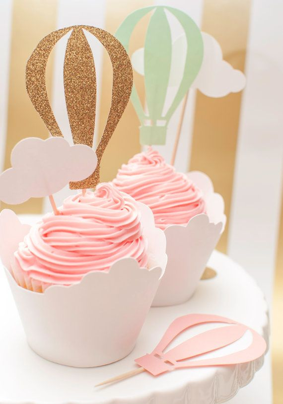 Wedding - Up Up And Away Hot Air Balloon Cupcake Toppers In Pink Mint And Gold Set Of 12