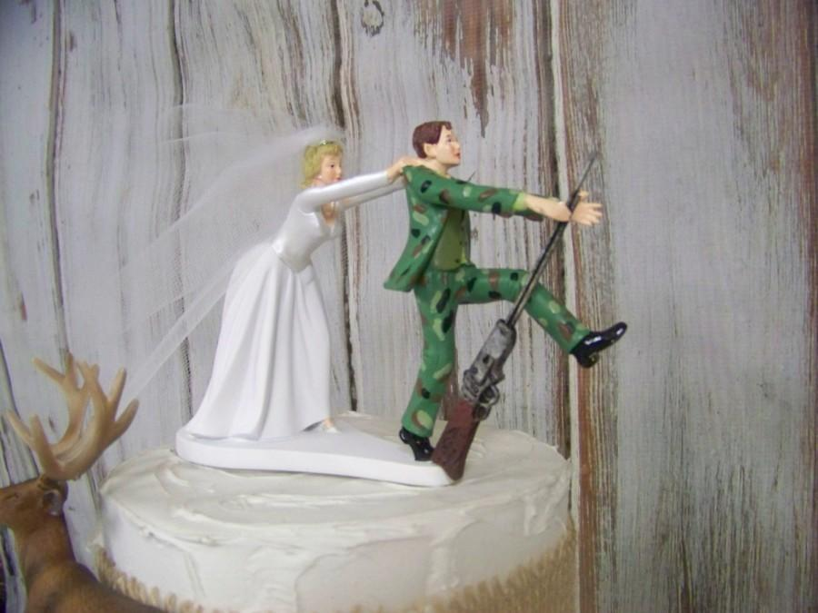 Mariage - Deer Hunting Cake Topper, Hunter Cake Topper, Camouflage Cake Topper, Wedding Cake, Wedding Decor,