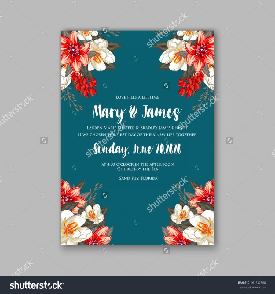 Mariage - Wedding invitation or card with tropical floral background. Greeting postcard in grunge retro vector Elegance pattern with flower rose illustration vintage style Valentine's day card Luau Aloha