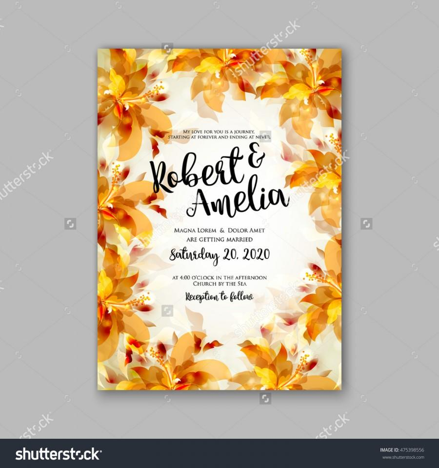 Wedding Invitation Template Or Card With Tropical Floral Background ...