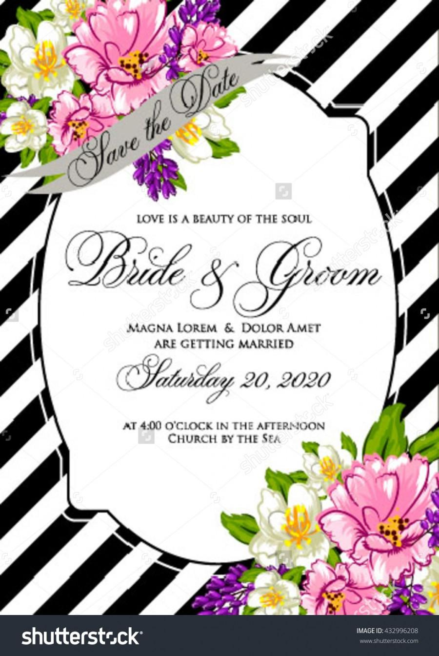 Wedding - Wedding Invitation Exotic tropical flowers on striped background for the holiday. Gold lettering handwriting. Invitation to a party
