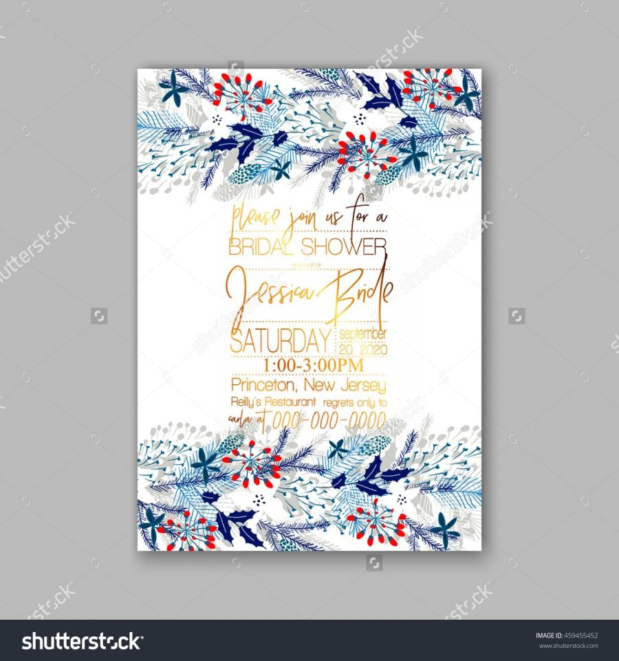 Floral Wedding Invitation With Winter Christmas Wreath. Merry ...