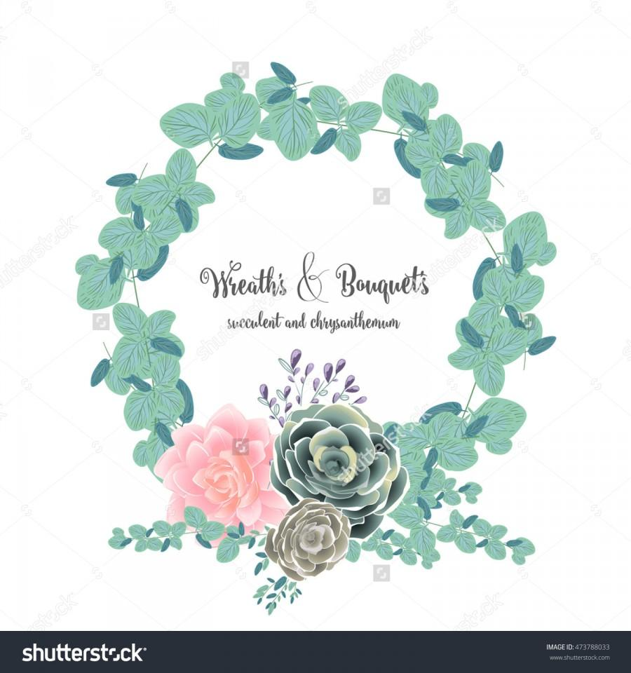 Unique Set Of Bouquet And Wreath Of Flower Succulent Chrysanthemum
