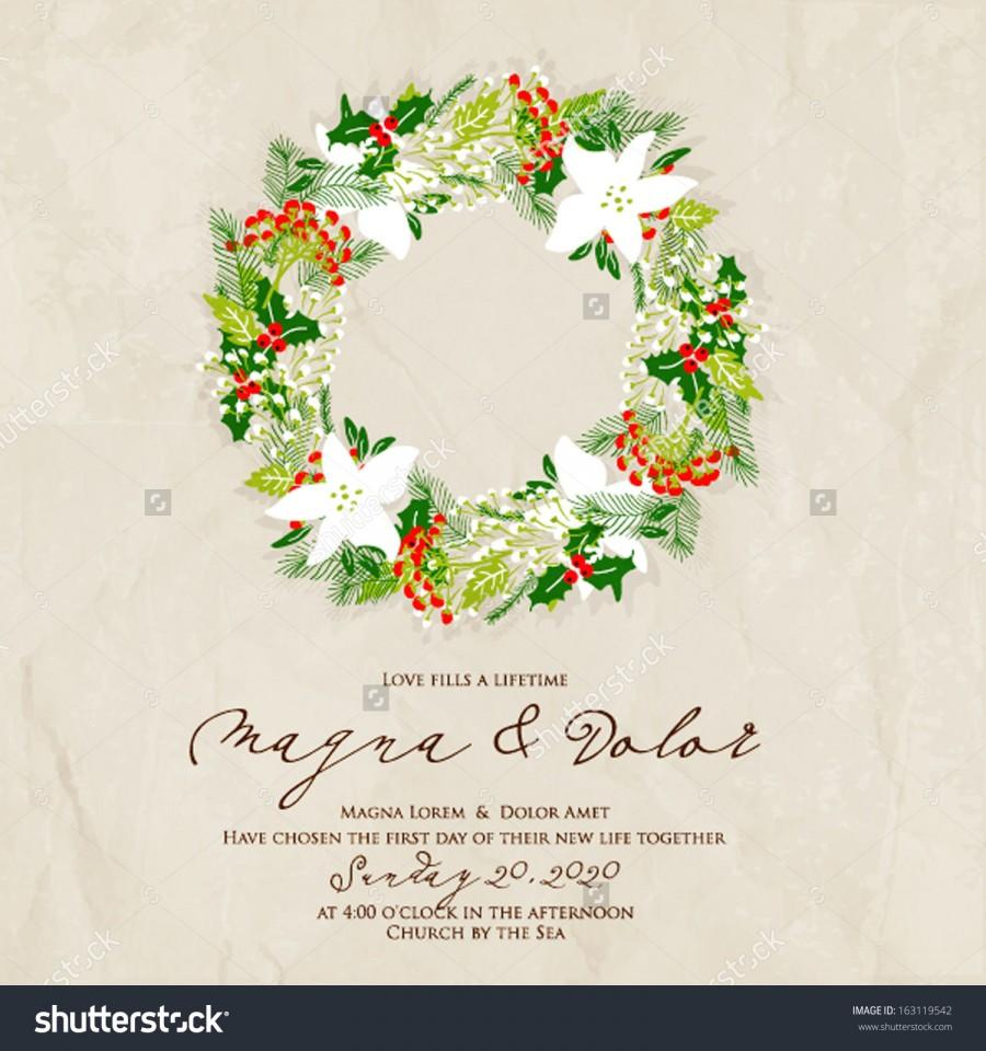 Merry Christmas And Happy New Year Card. Christmas Wreath. #2579042 ...