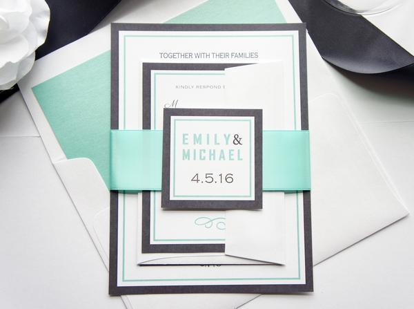 Wedding - Mint Wedding Invitation - SAMPLE SET