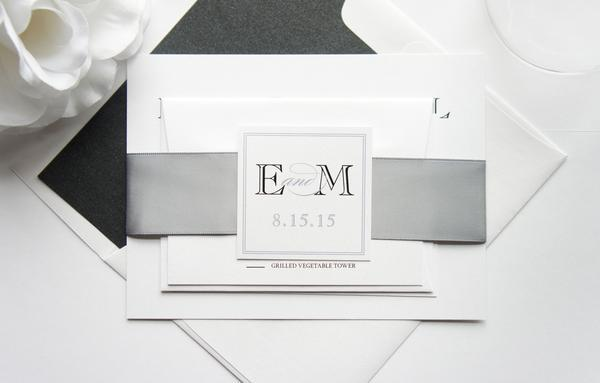 Wedding - Modern Gray Wedding Invitation - SAMPLE SET