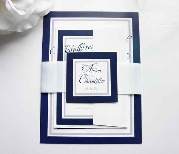 Hochzeit - Navy Blue Wedding Invitation - SAMPLE SET