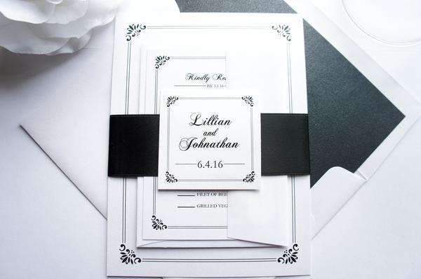 Свадьба - Regal Border Wedding Invitation - SAMPLE SET