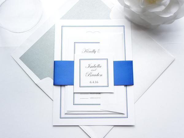 Свадьба - Royal Blue Monogram Wedding Invitation - SAMPLE SET