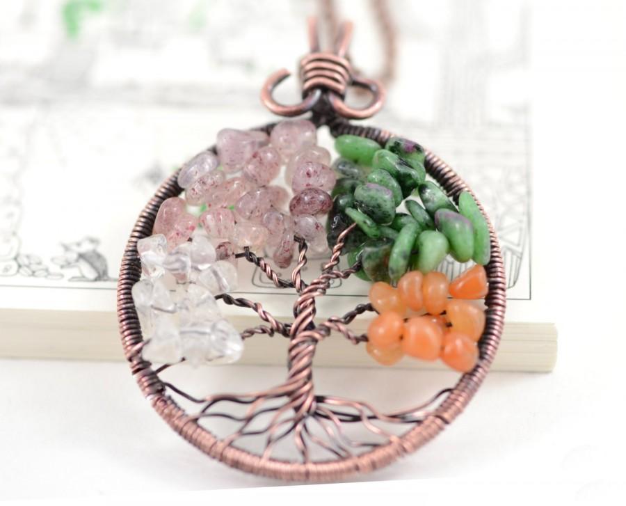 Four Seasons Tree Of Life Pendant Necklace Tree Family Tree Copper ...