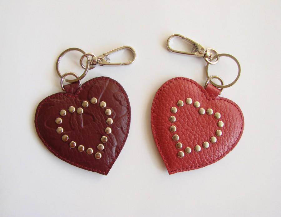 Wedding - Leather Key Chain, Leather Heart, Valentine, Key Fob, Friend Gift, Valentine's Day Gift, Vinous, Maroon