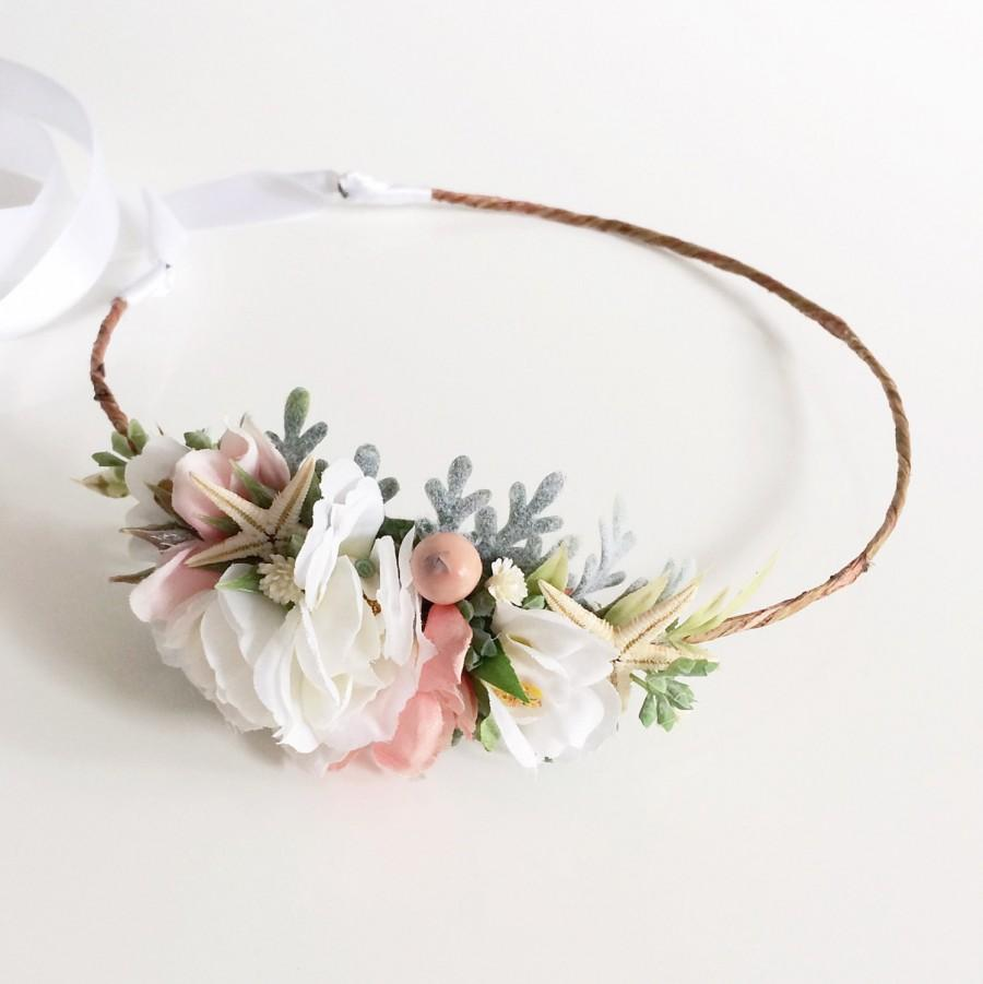 Blush And White Flower Crown- Mermaid Crown- Starfish Beach Wedding ...