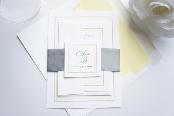 Свадьба - Yellow and Gray Wedding Invitation - SAMPLE SET