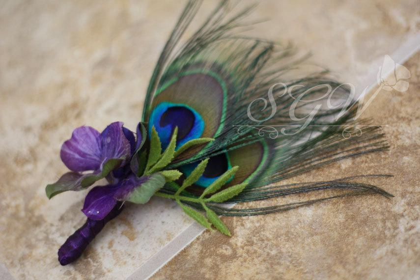 Mariage - Peacock Feather Wedding Men's Boutonniere