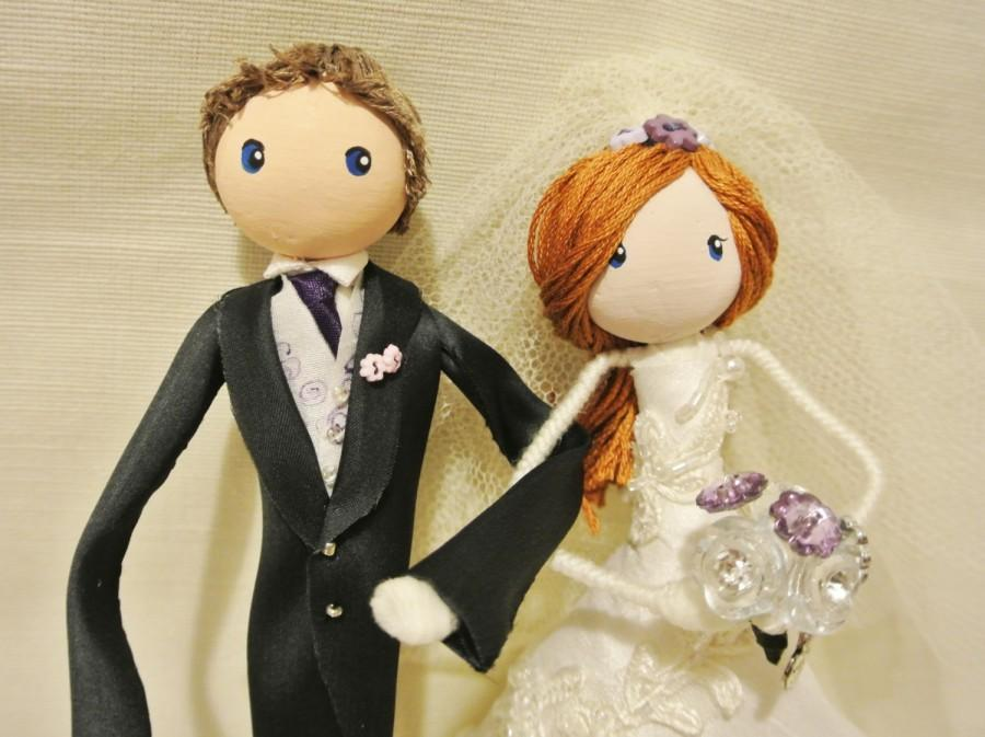 Свадьба - Wedding Keepsake Bride and Groom art dolls / Cake toppers.