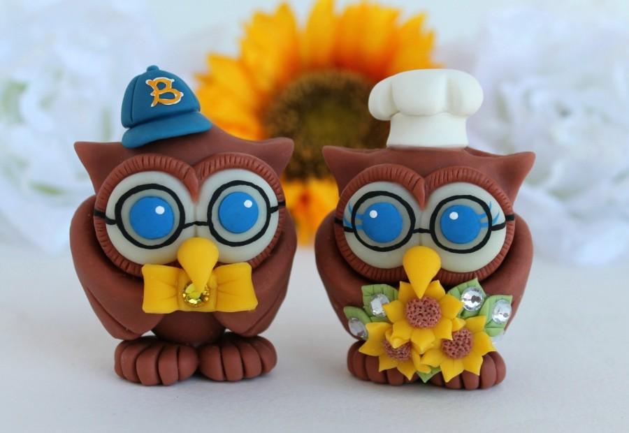 Wedding - Wedding owl cake topper, love bird with chef hat and glasses, job cake topper, sunflower wedding